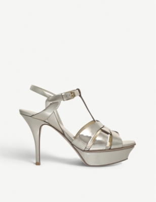 SAINT LAURENT Tribute 75 metallic patent-leather sandals