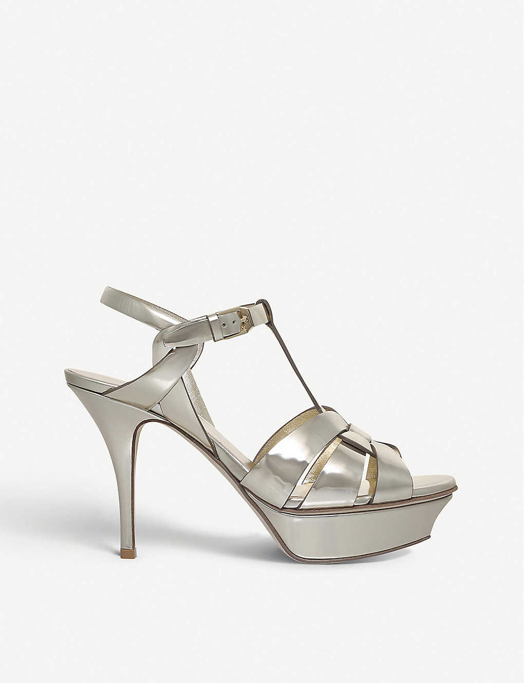 SAINT LAURENT: Tribute 75 metallic patent-leather sandals
