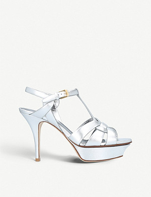 SAINT LAURENT Tribute 75 metallic leather sandals