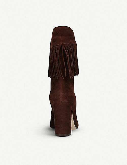 GIANVITO ROSSI Dakota 85 fringed suede ankle boots