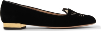 CHARLOTTE OLYMPIA Sleeping Kitty velvet slippers