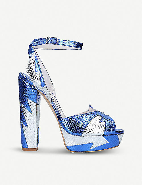 TERRY DE HAVILLAND Zia metallic snake-effect leather heeled sandals