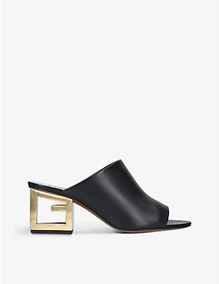 GIVENCHY: Logo-embossed leather mules