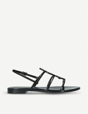 SAINT LAURENT Cassandra patent-leather sandals