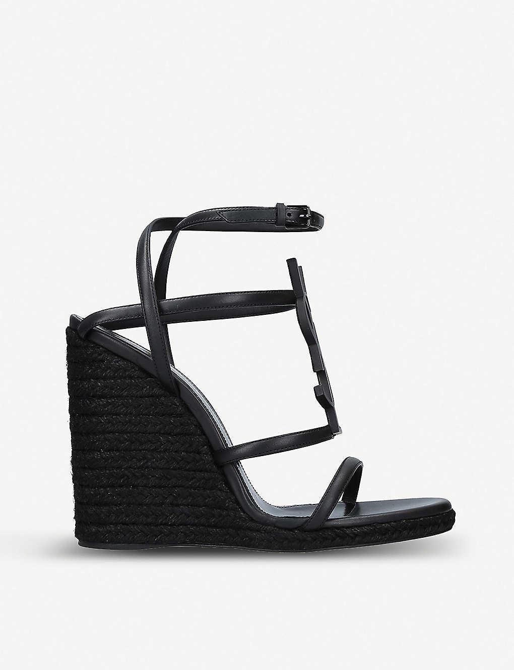 a41b029427e SAINT LAURENT - Cassandra 105 leather wedge espadrilles sandals ...