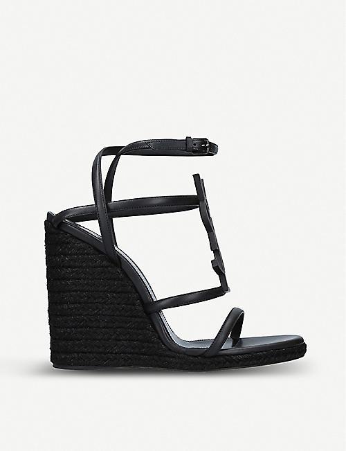 SAINT LAURENT Cassandra 105 leather wedge espadrilles sandals 6271393d2a