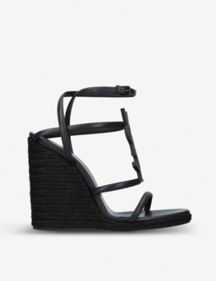 SAINT LAURENT Cassandra 105 leather wedge espadrilles sandals