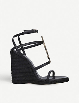 SAINT LAURENT: Cassandra 105 leather wedge sandals