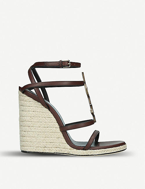 9b12aa53e SAINT LAURENT Cassandra 105 leather wedge sandals