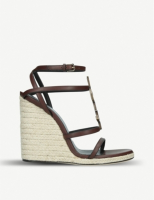 SAINT LAURENT Cassandra 105 leather wedge sandals