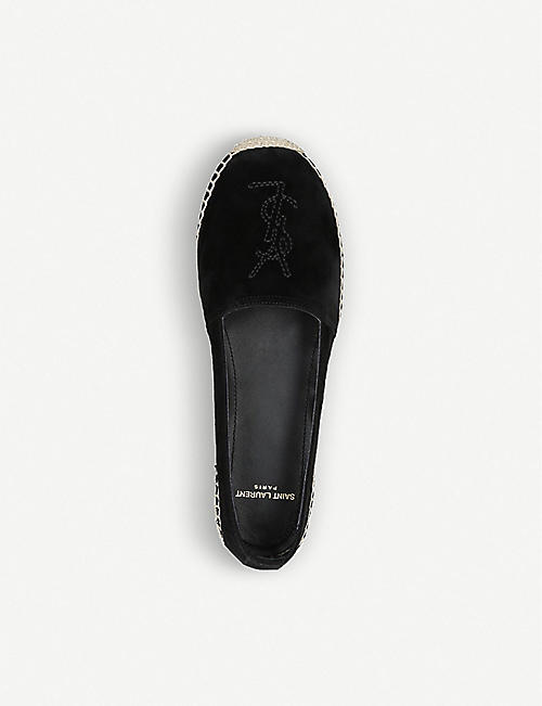 SAINT LAURENT Logo-embroidered suede espadrilles