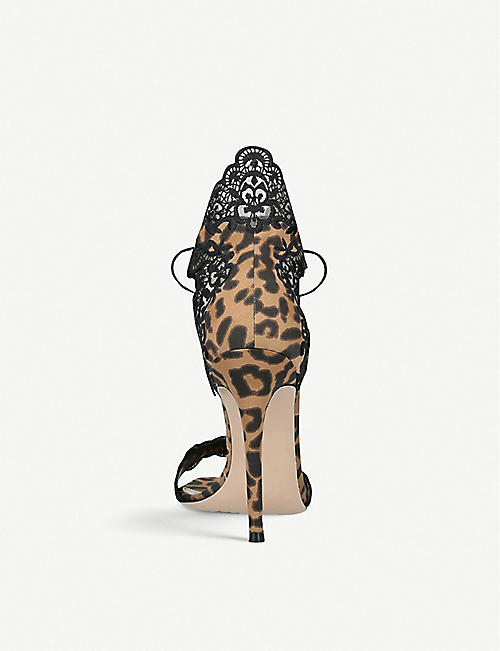 GIANVITO ROSSI Evie 105 lace-trimmed leopard-print satin heeled sandals