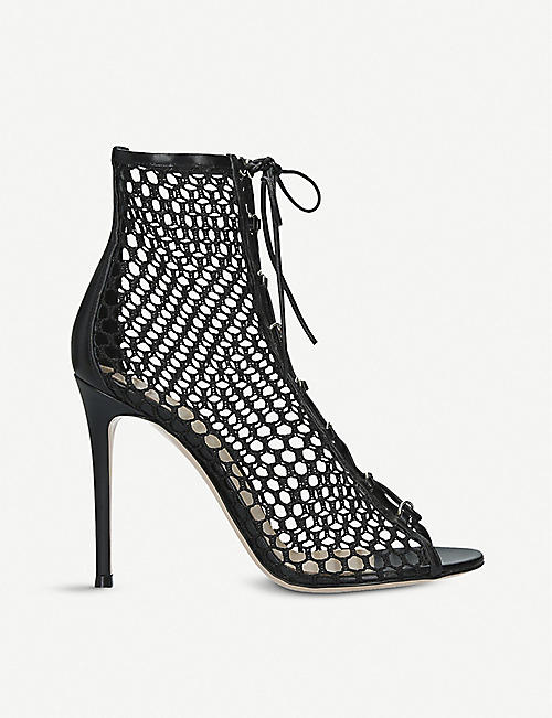 GIANVITO ROSSI Helena fishnet and leather ankle boots