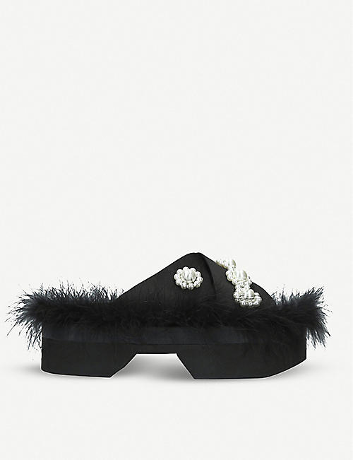 SIMONE ROCHA Faux-pearl and feather embellished sliders