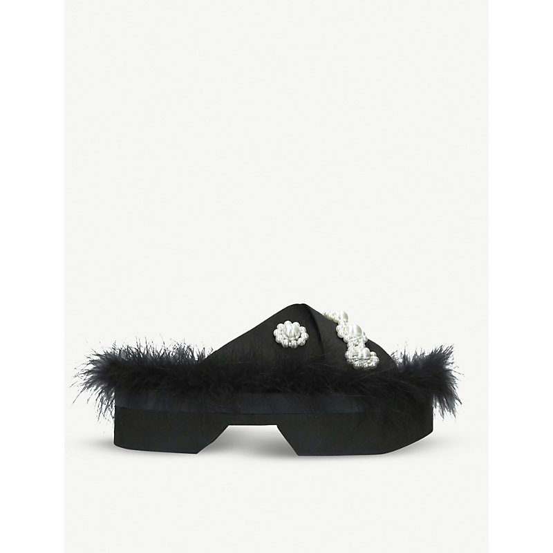 Simone Rocha Slippers FAUX-PEARL AND FEATHER EMBELLISHED SLIDERS