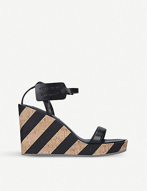 c2ba79637b1 OFF-WHITE C O VIRGIL ABLOH Striped leather and cork wedge sandals