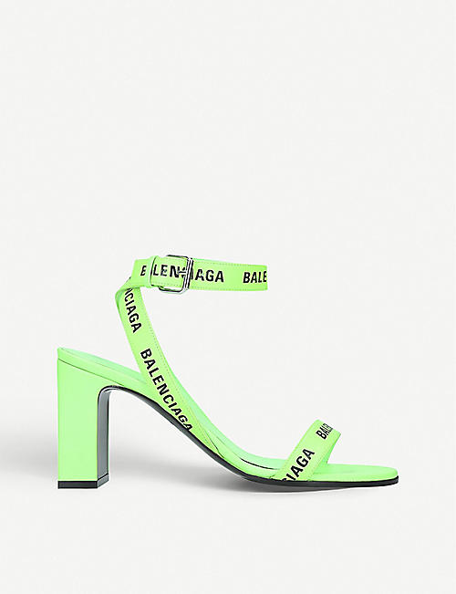 BALENCIAGA: Logo-print leather heeled sandals