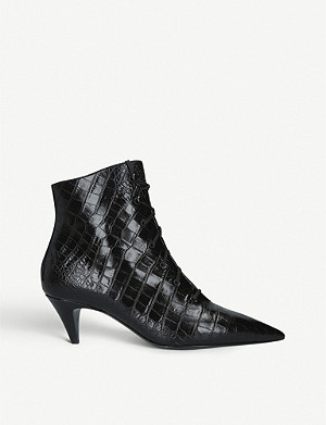 SAINT LAURENT Charlotte crocodile-embossed leather ankle boots