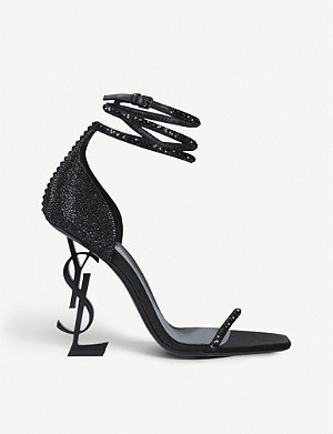SAINT LAURENT Opyum croc-embossed leather heeled sandals