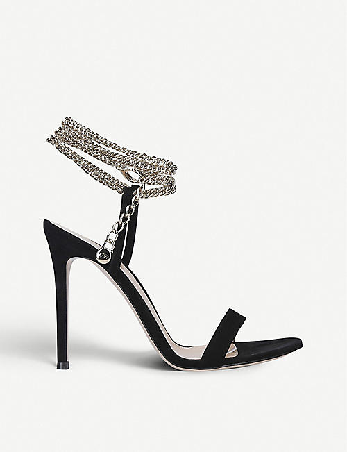GIANVITO ROSSI Debbie chain-detail suede heeled sandals