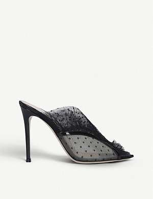 GIANVITO ROSSI Ofelia 105 polka-dot tulle and leather mules