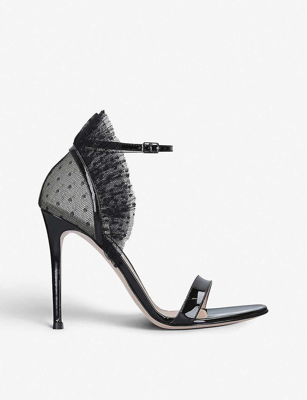 GIANVITO ROSSI: Beatrice ruffled mesh and patent leather pumps