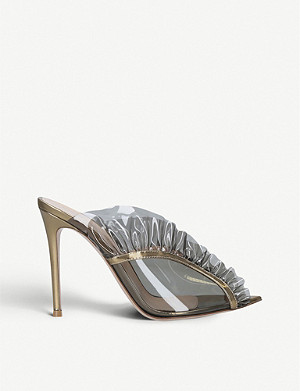 GIANVITO ROSSI Fame 105 PVC and metallic-leather mules
