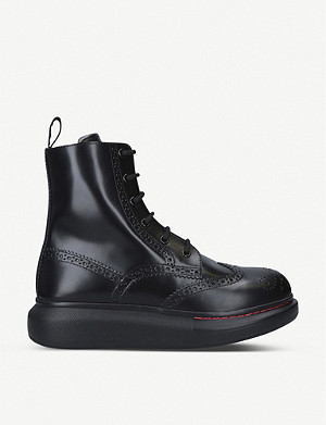 ALEXANDER MCQUEEN Hybrid leather ankle boots