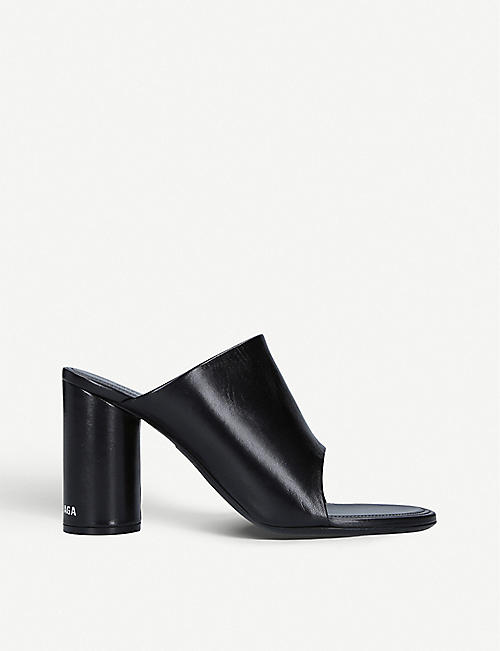 BALENCIAGA: Oval leather heeled mules