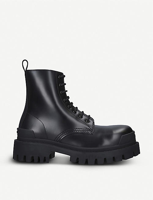 BALENCIAGA: Strike leather platform ankle boots