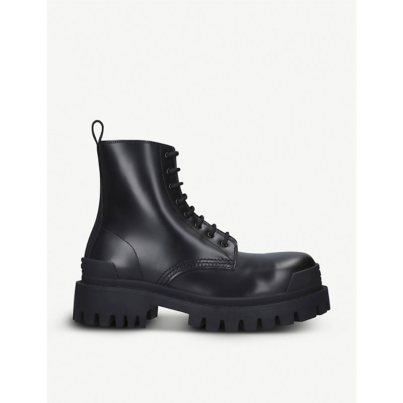 Balenciaga Boots STRIKE LEATHER PLATFORM ANKLE BOOTS