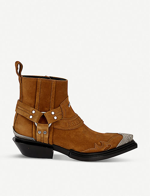 BALENCIAGA Santiag leather heeled ankle boots