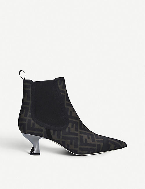 FENDI Colibri mesh and leather ankle boots