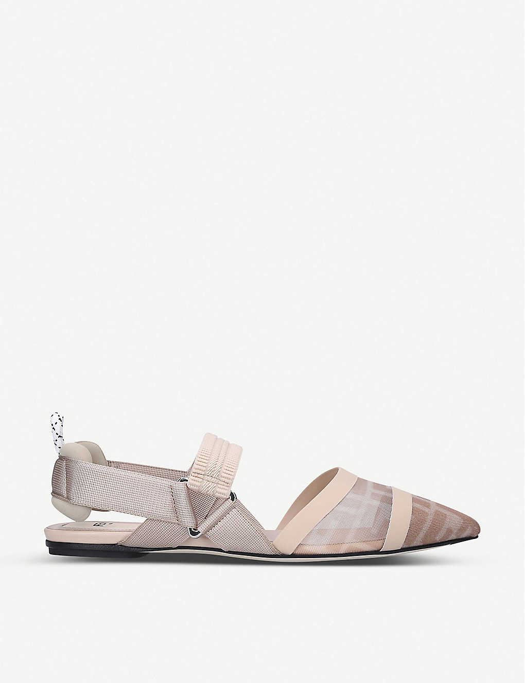 FENDI: Calibri FF logo-print mesh and leather flats