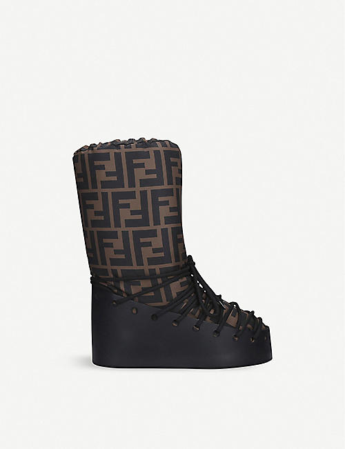 FENDI: Leather lace-up snow boots