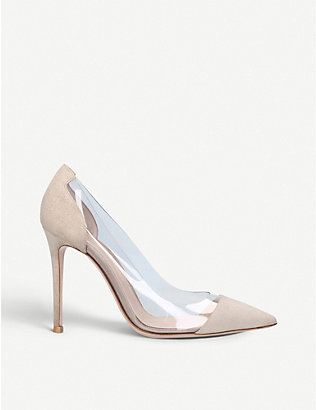 GIANVITO ROSSI: Plexi 105 suede and PVC pumps