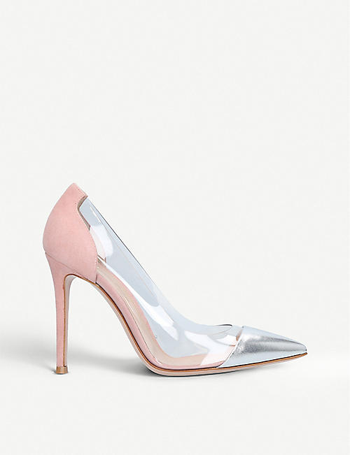 ec56b346ff32 GIANVITO ROSSI Plexi 105 metallic-leather courts