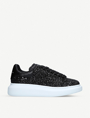 ALEXANDER MCQUEEN Lace-up glitter trainers