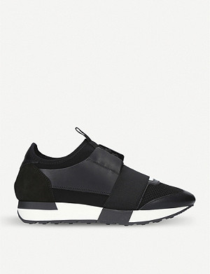 BALENCIAGA Race Runners mesh, leather and knitted low-top trainers
