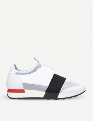 BALENCIAGA Race Runners leather, neoprene, jersey and mesh low-top trainers