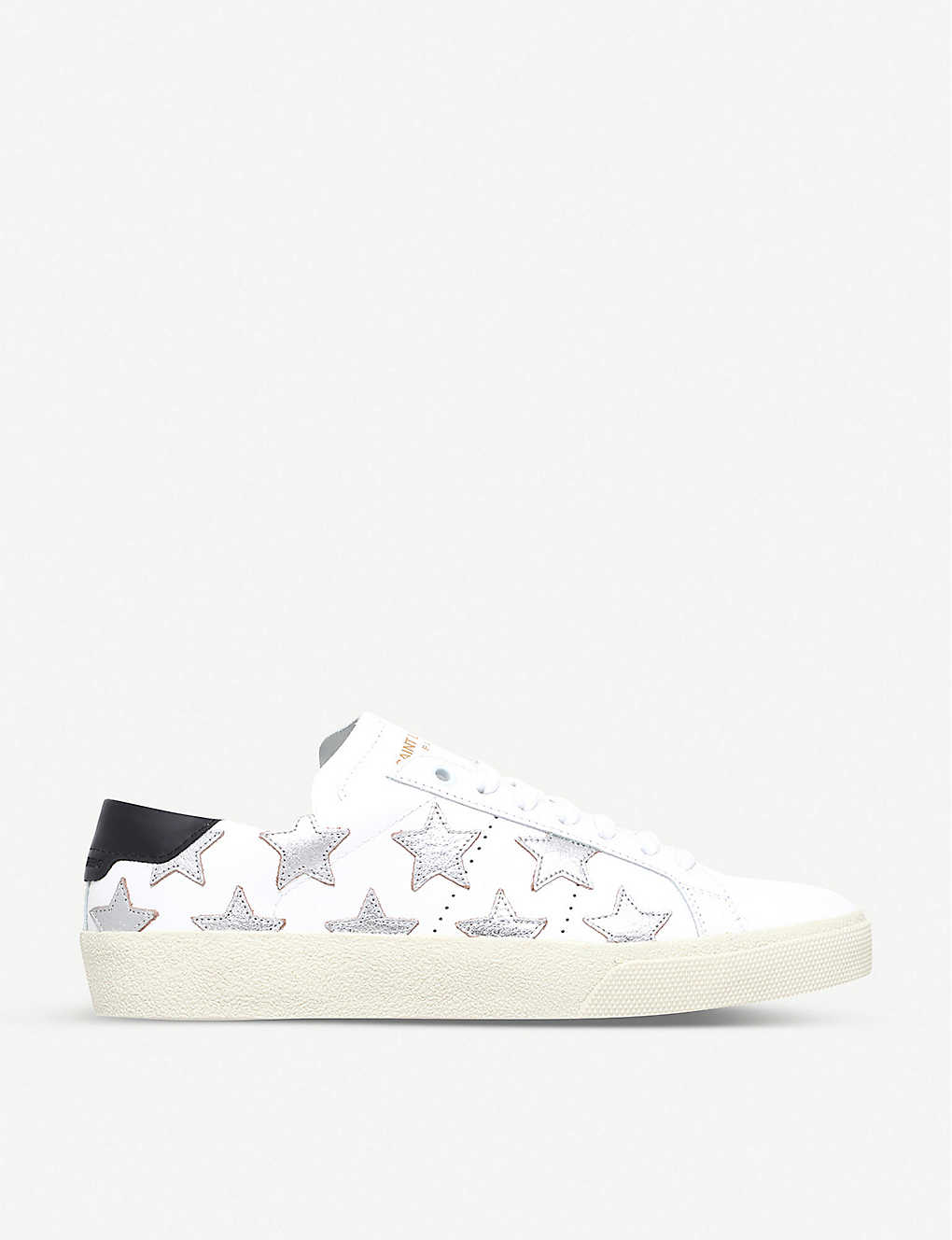 SAINT LAURENT: Court classic star-embroidered leather trainers