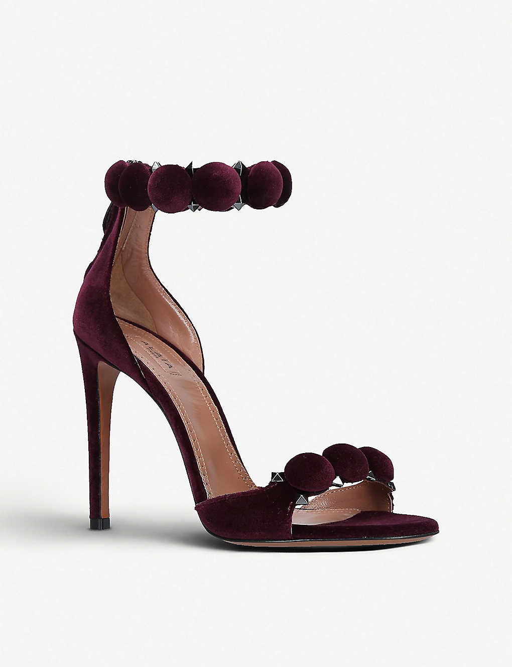844d1affd820 AZZEDINE ALAIA - Bombe 110 spike-embellished velvet sandals ...