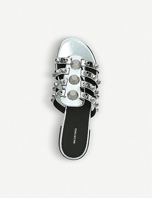 BALENCIAGA Giant Silver leather sliders