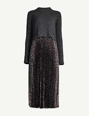 ALLSAINTS Leowa leopard-print wool and satin-crepe midi dress