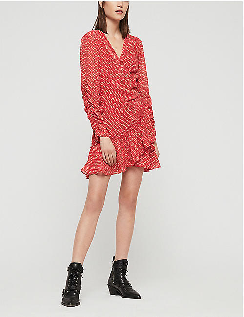 ALLSAINTS Flores heart-print chiffon dress