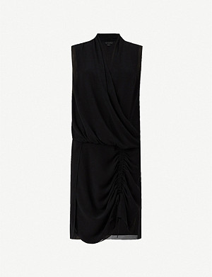 ALLSAINTS Cathea wrap-front gathered crepe mini dress
