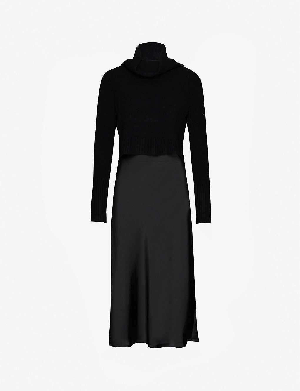 ALLSAINTS: Tierny rurtleneck wool-blend and satin midi dress