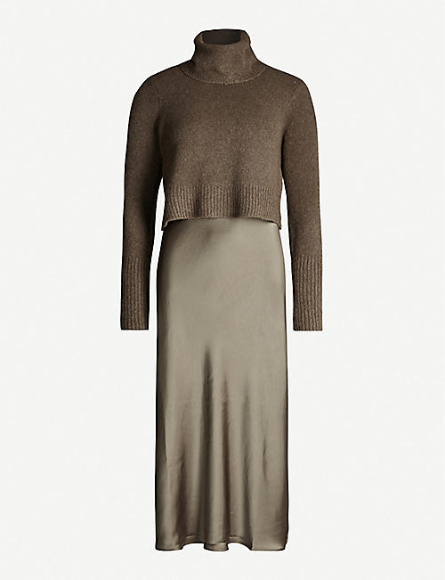 ALLSAINTS Tierny rurtleneck wool-blend and satin midi dress