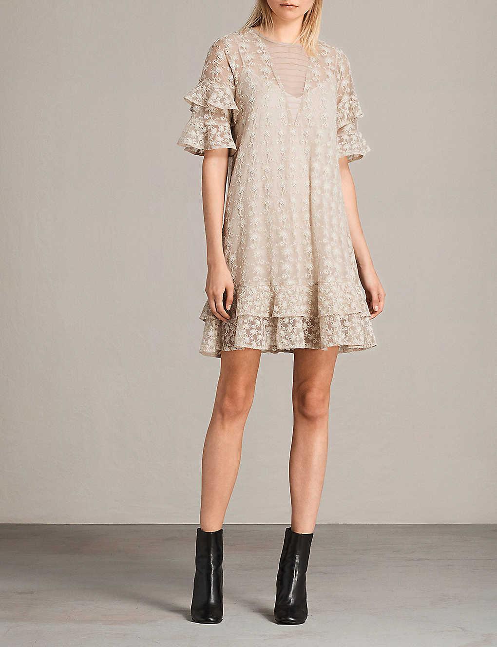 36c0633ee3 ALLSAINTS - Henrietta floral-embroidered mesh dress