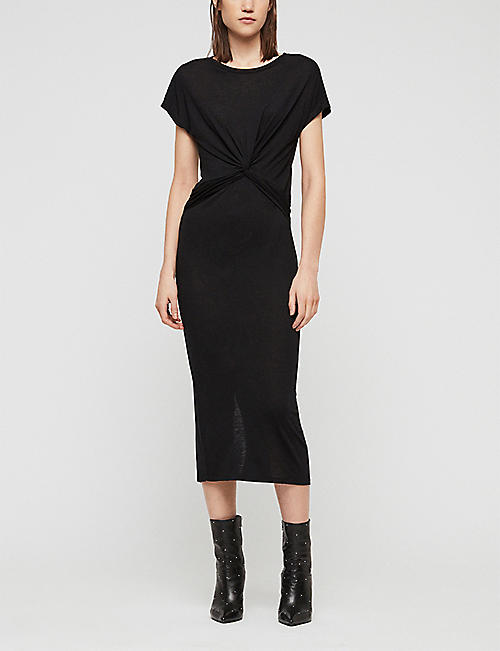 ALLSAINTS Paloma knotted cotton-jersey midi dress